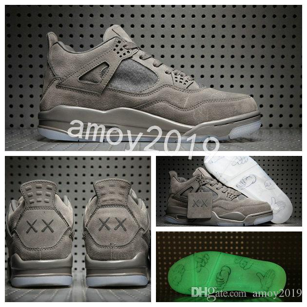 superior quality 84984 e136e 2018 New Kaws x 4 Grey Men Basketball Shoes Limited Edition 4s VI Gool Grey  Suede Shoes Kaws Sports Mens Trainers Sneakers Size 41-47