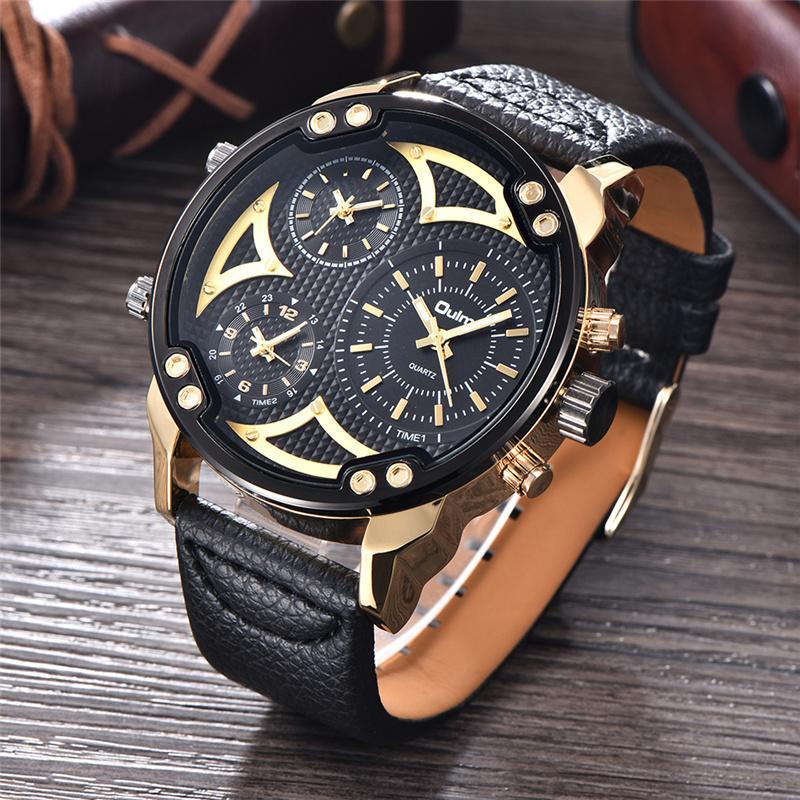 5af79284ea5 Compre Oulm Nova Moda 3 Fuso Horário Esporte Ao Ar Livre Relógios Top Marca  De Luxo De Quartzo Relógio Masculino Relógio De Pulso Dos Homens De Couro  ...