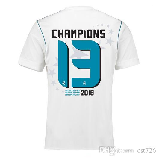 d899a0aeaea41 Compre 13 Campeão Real Madrid Casa Branca Camisa De Futebol 17 18 Real  Madrid Camisa De Futebol 2018 Ronaldo Bale 13 Campeão Uniformes De Futebol  De Cst726