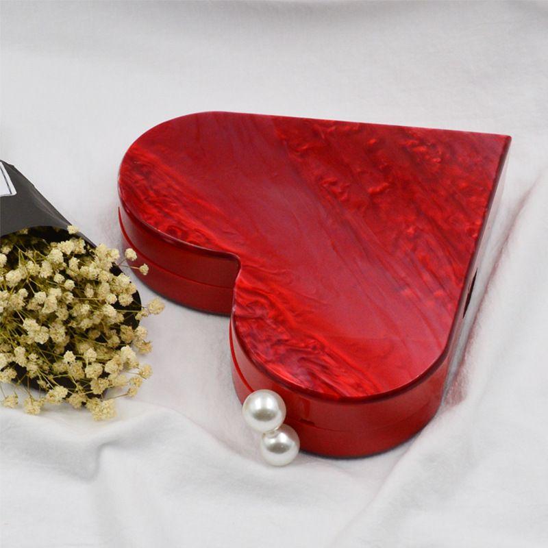JOYIR New Arrival Heart Shaped Acrylic Clutch Pearl Party Women Evening Bags Handbag Desinger Wedding Lovely Chain Shoulder Bag