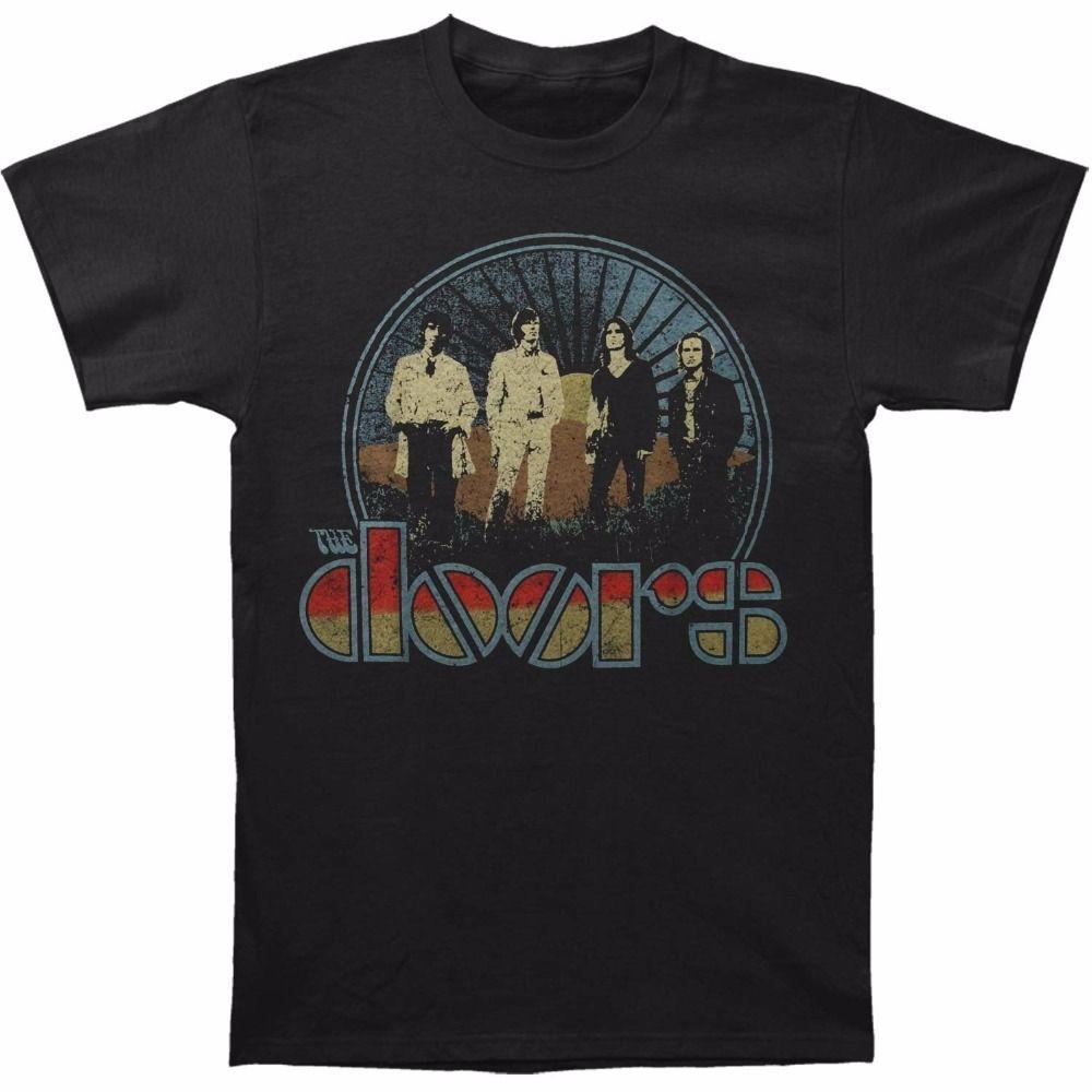 3b4256f144d Online T Shirts Design Short Sleeve Print Doors Vintage Field Black Printed  Casual Men's T-Shirt Crew Neck Mens Tee