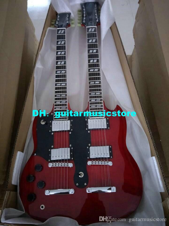 Red 6/12 Strings 1275 Double Neck Left Handed Electric Guitar Mahogany Body OEM From China