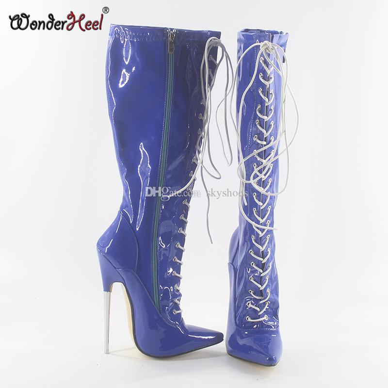 da00384088f Wonderheel Hot 18cm 7 Heel Ultra High Heels Pointed Toe Lace Blue Patent  Leather Knee High Boots Sexy Fetish Metal Heel Boots Mid Calf Boots Womens  Ankle ...