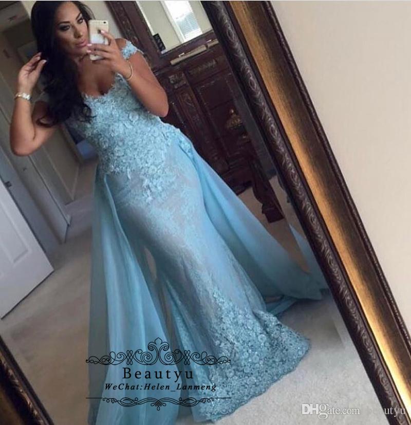 5dd4b45dc85 Yousef Aljasmi Arabic Mermaid Prom Dresses 2019 Plus Size Blue Off Shoulder  Sexy Vitnage Lace Overskirt Long Elegant Evening Formal Dress Vintage  Inspired ...