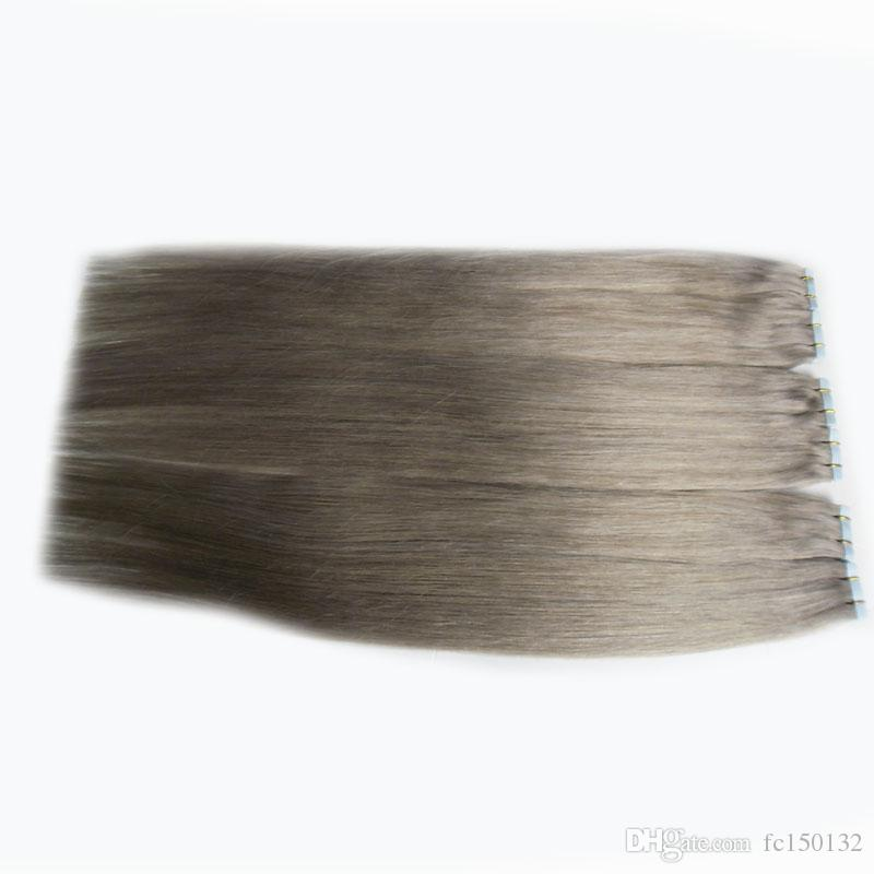 Серые наращивания волос 12