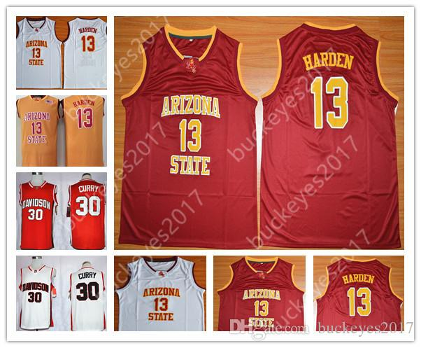 2019 Arizona State Sun Devils  13 James Harden Davidson Wildcats 30 Stephen  Curry Free White Red Stitched NCAA College Basketball Jerseys From  Buckeyes2017 0d72154e3