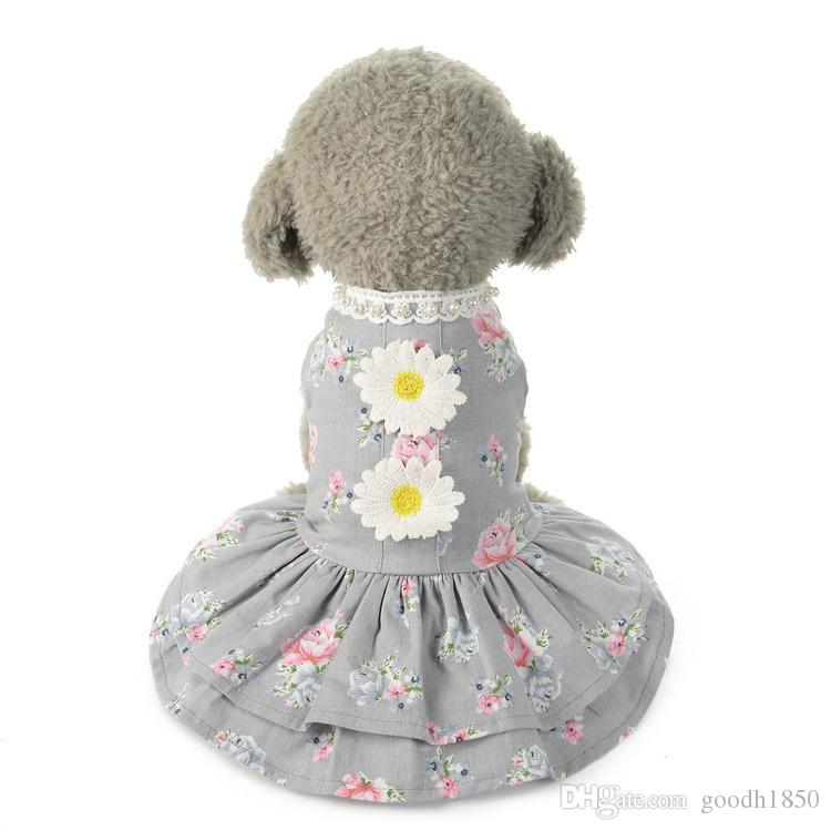 Fashion elegant dog apparel,new beauty pets dresses,dogs clothing,gray and pink colours,Sun flowers printing