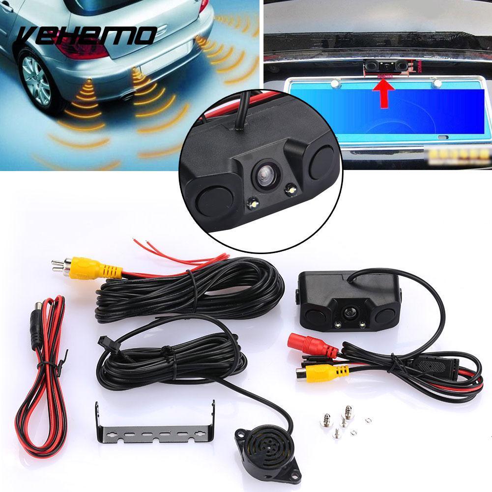 2 Radar 3 in 1 Detector Rear View Camera Universal Buzzer Parking Radar  Auto Radar Camera Alarm Car Reversing Kit