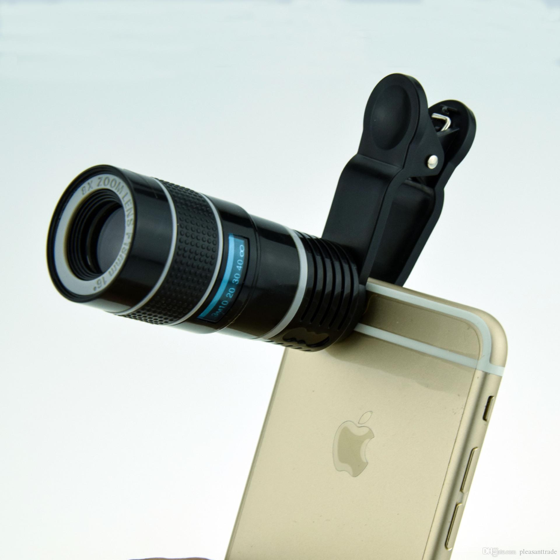 Universal 8x Cell Phone Telescope Extra Mobile phone telescope lens Camera Len with Clip for iPhone