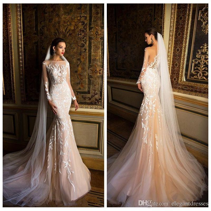 Slim Custom 2018 Wedding Dresses Mermaid Sheer Long Sleeves Lace ...