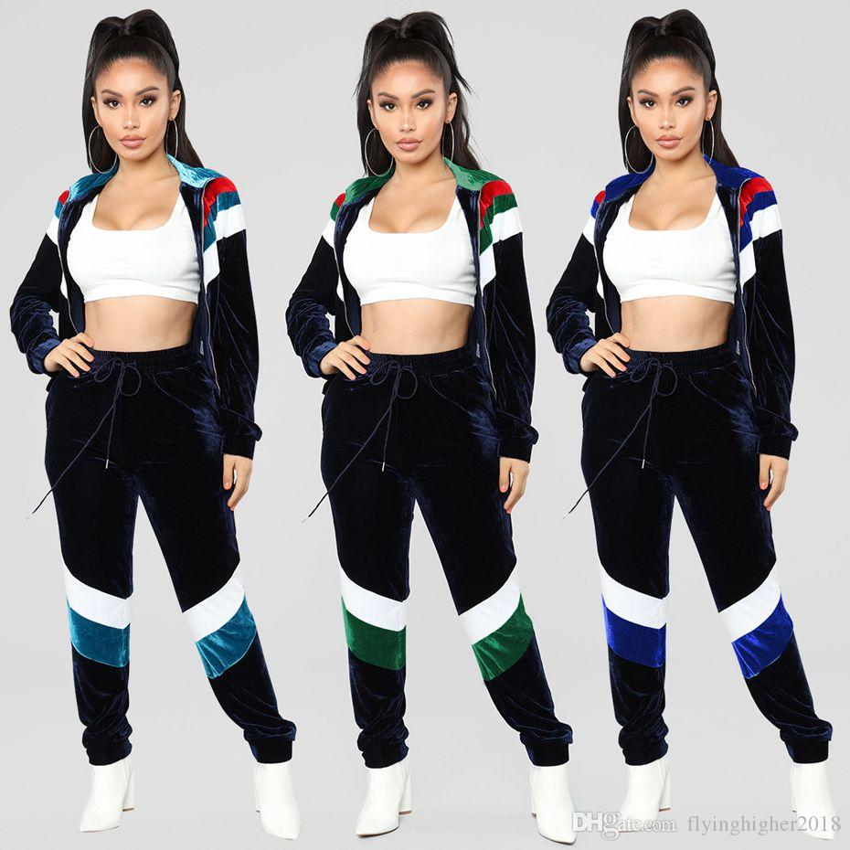 a9e6cd345b578 2019 Velvet 2 Two Piece Set Women Zip Coat Tops+Pants Sweatsuits Autumn  Winter Outfits Matching Sets Casual Velour Tracksuit From Flyinghigher2018