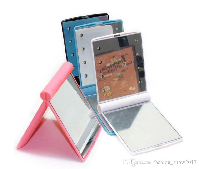 Espelho de maquiagem de maquiagem de bolso mais popular com 8 luzes LED e tela de toque inteligente escurecimento