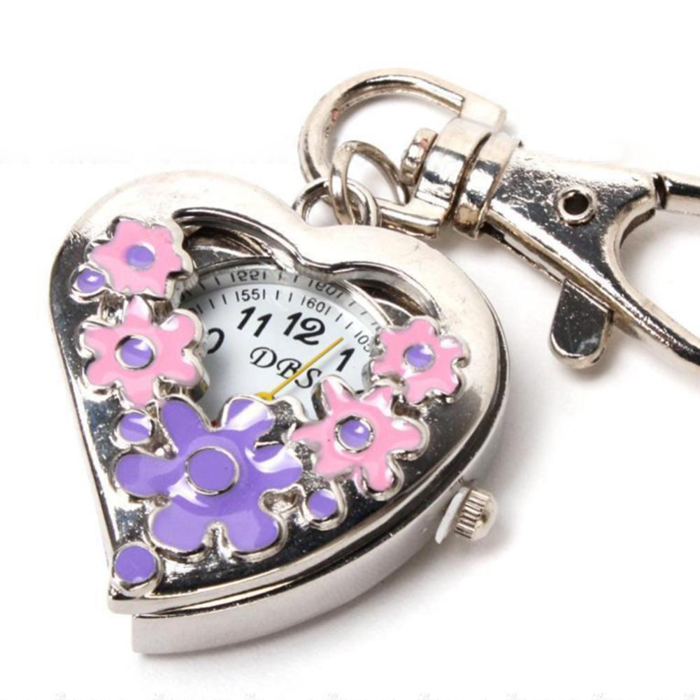 Sanwood Heart Shape Quartz Watch Flowers Pocket Watches Stainless Steel Key Ring Chain NEW