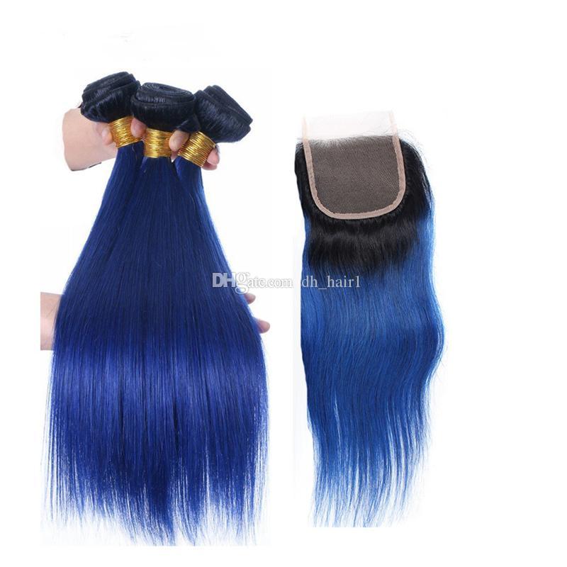 8A Peruanische Gerade Ombre Blau Haar Bundles mit Spitze Verschluss 2 Ton 1B / Blau Ombre Menschenhaar Spinnt und Top Verschluss 4 Stücke