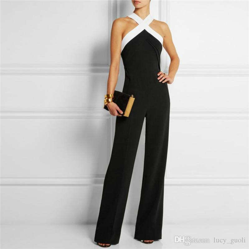 01a5fddd6cdb 2019 V Neck Work Wear Woman Jumpsuit Loose Playsuit Party Ladies Romper  Sexy Slim Full Length Female Rompers Solid Ultra Wide Leg Trousers Woman  From ...