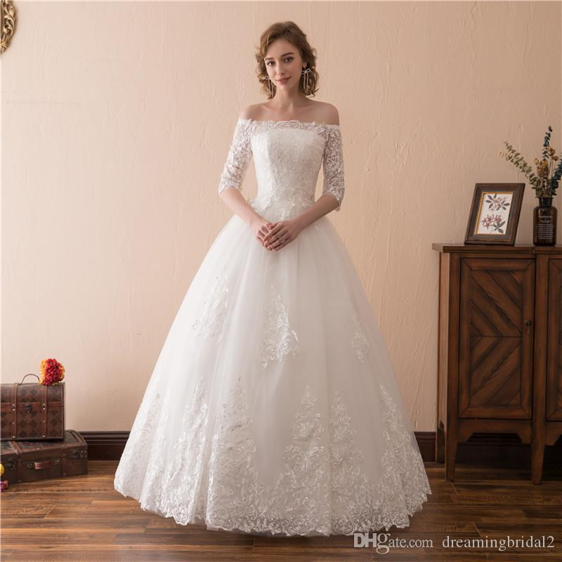 Discount Lace Ball Gown Wedding Dresses 1/2 Sleeve Illusion Bateau ...