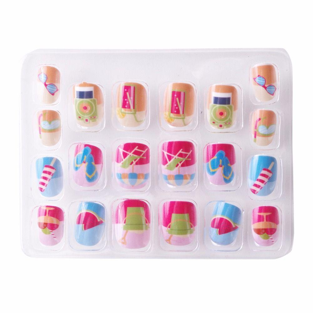 Beach Kawaii False Nails For Children 5 Sizes Pre Glue Press On ...