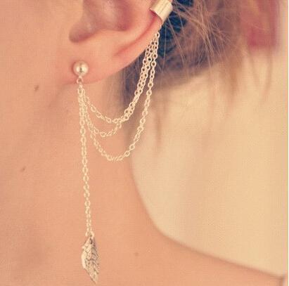 Del foglio di modo della nappa della catena del polsino dell'orecchio del punk gotico di stile Oro Argento di colore dell'orecchio della clip dei monili delle donne Orecchino
