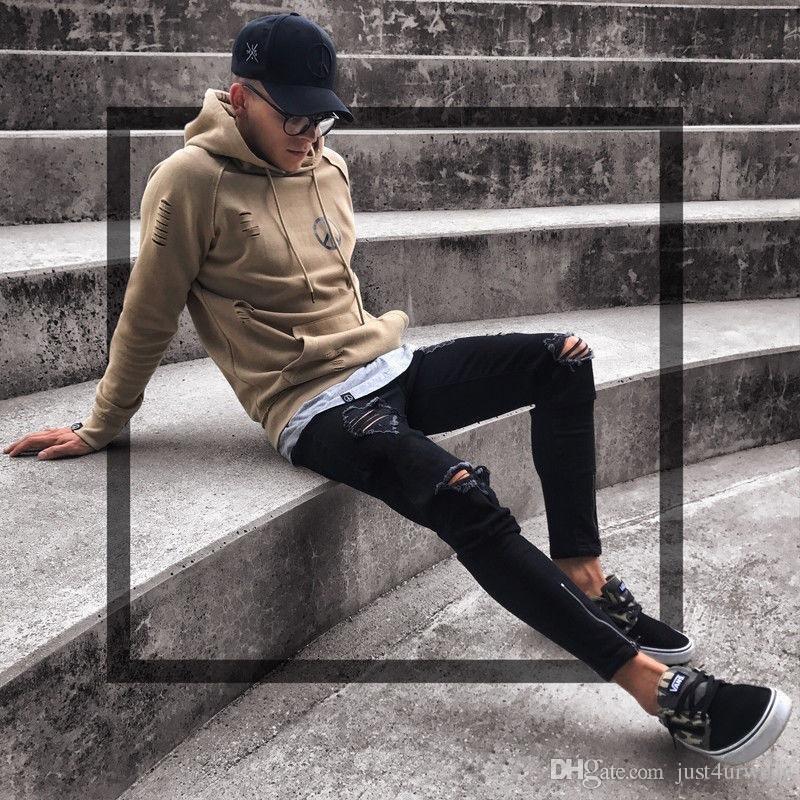 Siyah Pantolon Erkekler için Hip Hop Kaya Delik Yırtık Kot Biker Slim Fit Fermuar Jean Sıkıntılı Pantolon