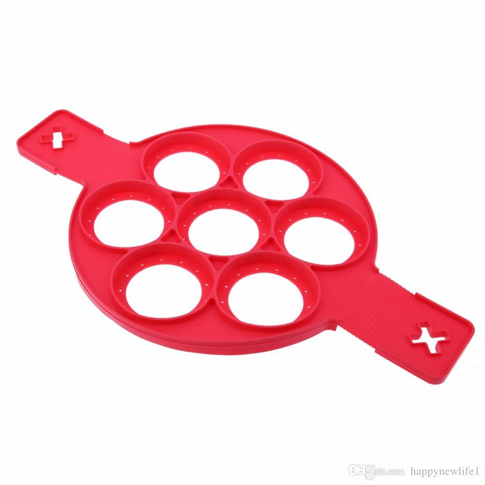 Fabricante de panqueques antiadherente de silicona fabricante de anillo de huevo Cocina panqueques perfectos Easy Flip desayuno herramientas de tortilla molde para panqueque herramienta de huevo