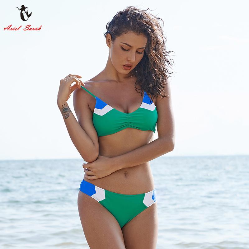 Ariel Sarah 2018 Kadınlar Mayo Patchwork Bikini Seksi Mayo Basit Mayo Brezilyalı Bikini Maillot De Bain Beachwear