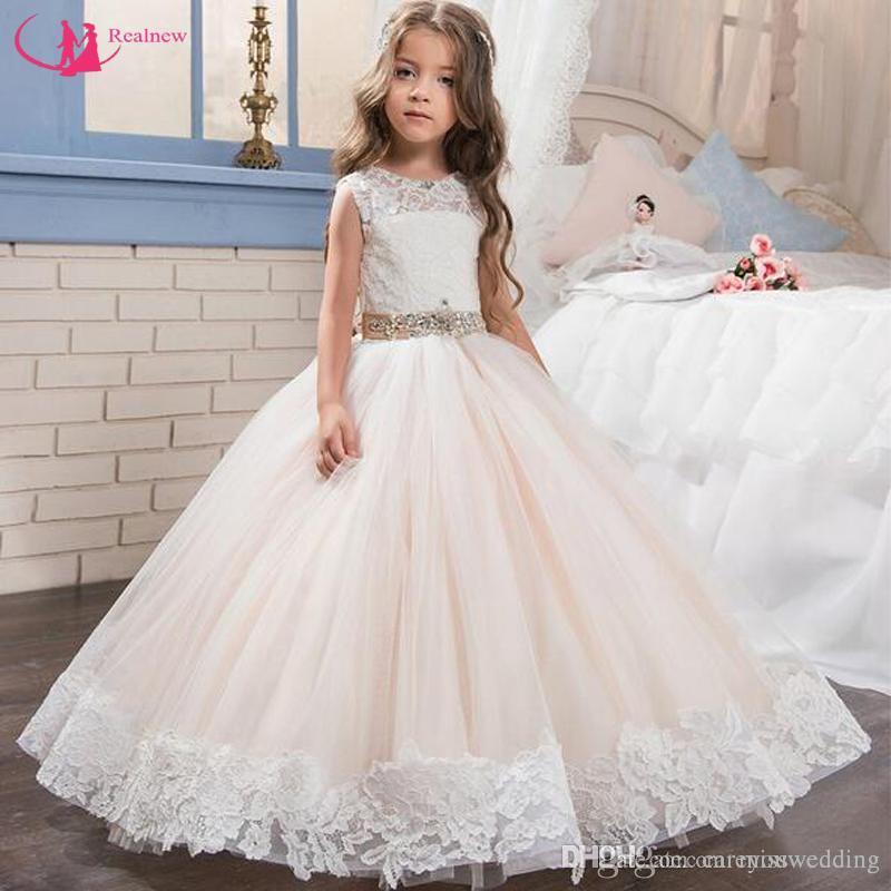 Compre 2018 Nuevo Diseño Vestido De Reina Vestido De Niña De Encaje Blanco Encaje Fajas Vestido De Fiesta De Boda Vestido De Primera Comunión Para