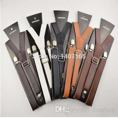 dcdb05580 High Quality Brown And Black Braces 25mm Width Mens Women Pu Leather  Suspenders For Men 120cm Red Suspenders Lace Tights From Combop