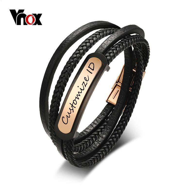 Vnox Free Men's Leather Bracelet Customized ID Multi-Layer Braided Link Chain Bracelet for Male Jewelry 7.9 Inch