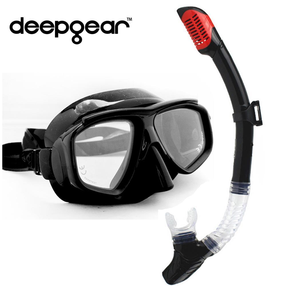 95f32bc70 Compre DEEPGEAR Conjunto De Buceo Superior Máscara De Buceo De Silicona  Negra Miopía De Lente De Vidrio Templado Máscara Para Snorkel Equipo De  Buceo Para ...