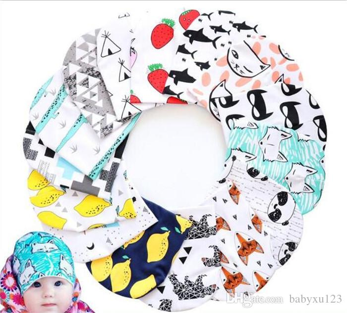 300pcs kids purified cotton hats children cartoon caps INS fox beanies panda tiger hats printed Baby caps Y246