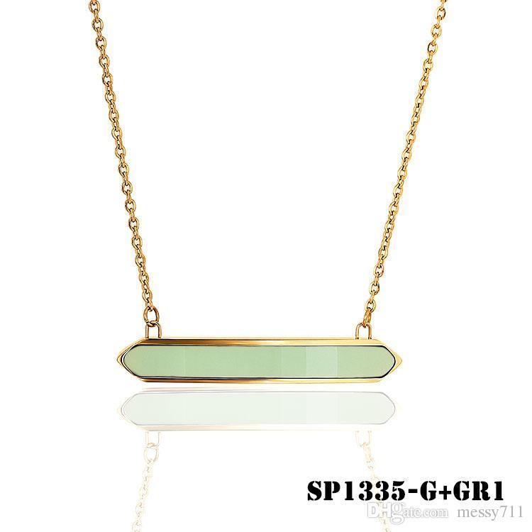 frete grátis camisola cadeia de aço inoxidável luz de cor gema verde retângulo colar curto modelo mulher clavícula cadeia
