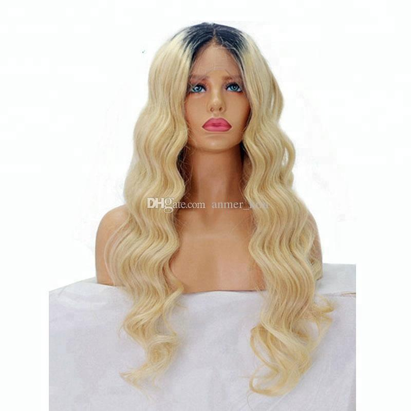 On sale best 100% unprocessed raw virgin remy human hair long #613 ombre color body wave full lace cap wig for women