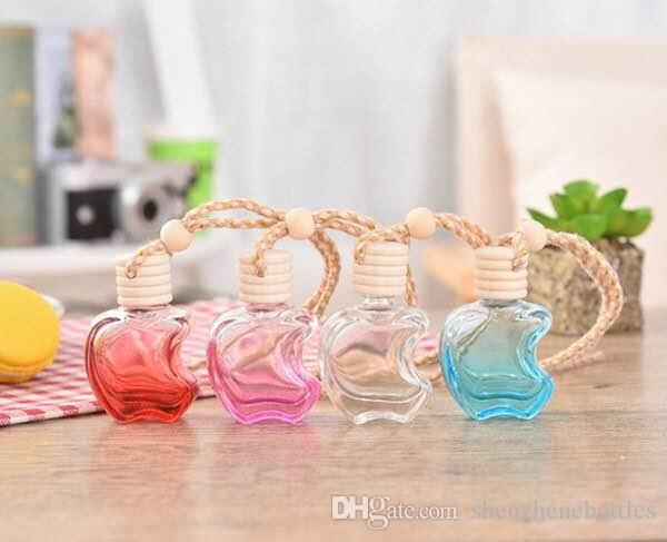 Hot Apple Shape Glass Perfume Pendant Car-styling Auto Ornament Colorful Empty Air Freshener For Essential Oils Car Perfume Bottle
