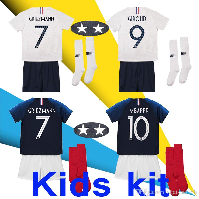 9bc01f963 2019 2 Stars MBAPPE GRIEZMANN Kids Kit Home Away Soccer Jerseys 2018 World  Cup POGBA GIROUD DEMBELE KANTE PAVARD Child Two Stars Football Shirts From  ...