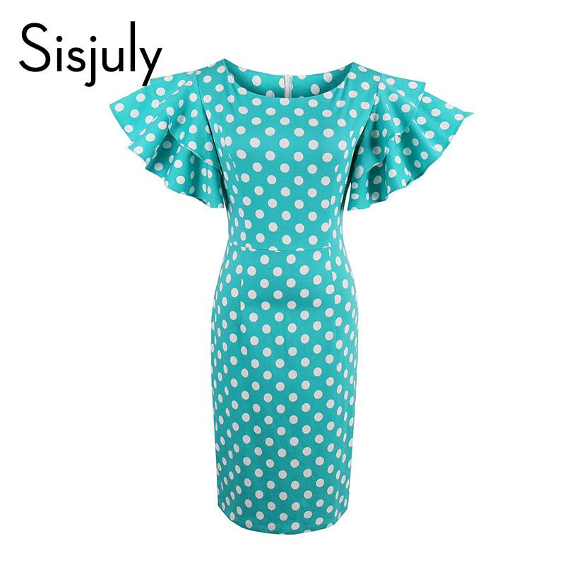 d4f2f9310a9e 2019 X907 Sisjuly Polka Dot Petal Sleeve Vintage Dress Bodycon Women Zipper  Sheath Pin Up Clothing Blue Round Neck Slim Sexy Party Dresses From  Ruiqi03, ...