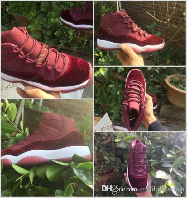 c8c32c26483466 New Cheap 11 Velvet Heiress Flower Pattern Men Basketball Shoes 11s Velvet  Wine Red Night Maroon Sports Sneakers Size 40 47 Shoes Canada Carmelo  Anthony ...