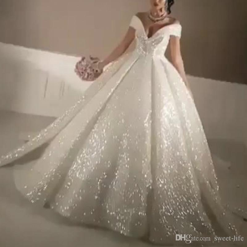 Empire Ball Gown Wedding Dresses: 2018 Ball Gown Bling Bling Wedding Dresses Off The