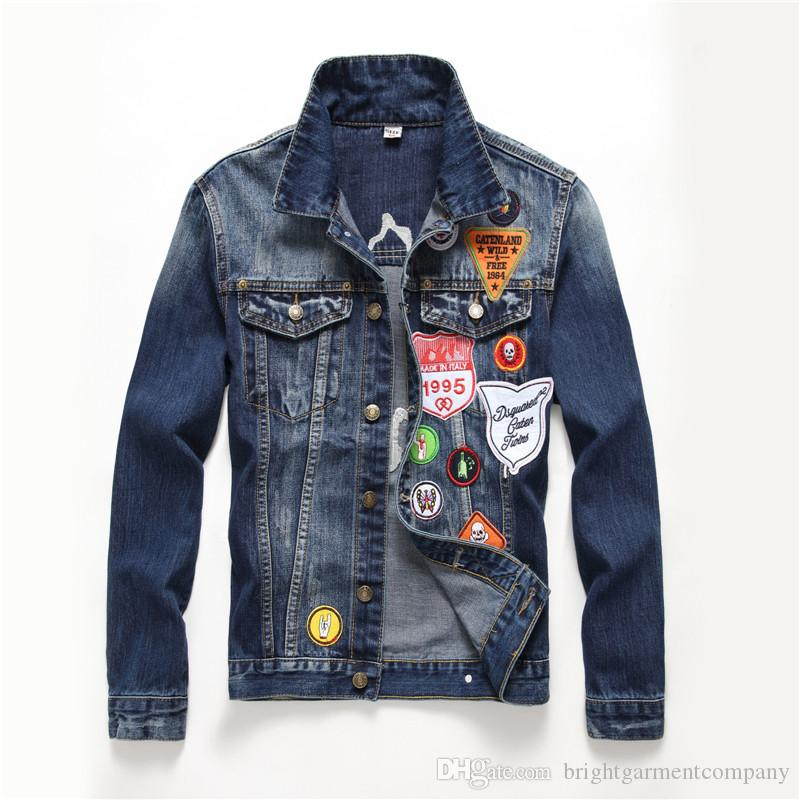 4971f04e860 New 2018 Men S Denim Jacket Fashion Jeans Jackets Slim Fit Casual  Streetwear Vintage Mens Famous Brand Embroidery Badge Jean Jacket Clothing  Cbj Hockey ...