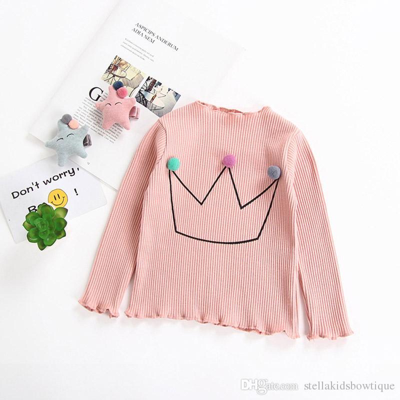 Neue 2018 Kinder Kleidung Langarm Baumwolle Bodenbildung T-shirt Crown Design Baby Mädchen Kleidung Heiße Verkäufe Kinder Außenhandel Tops