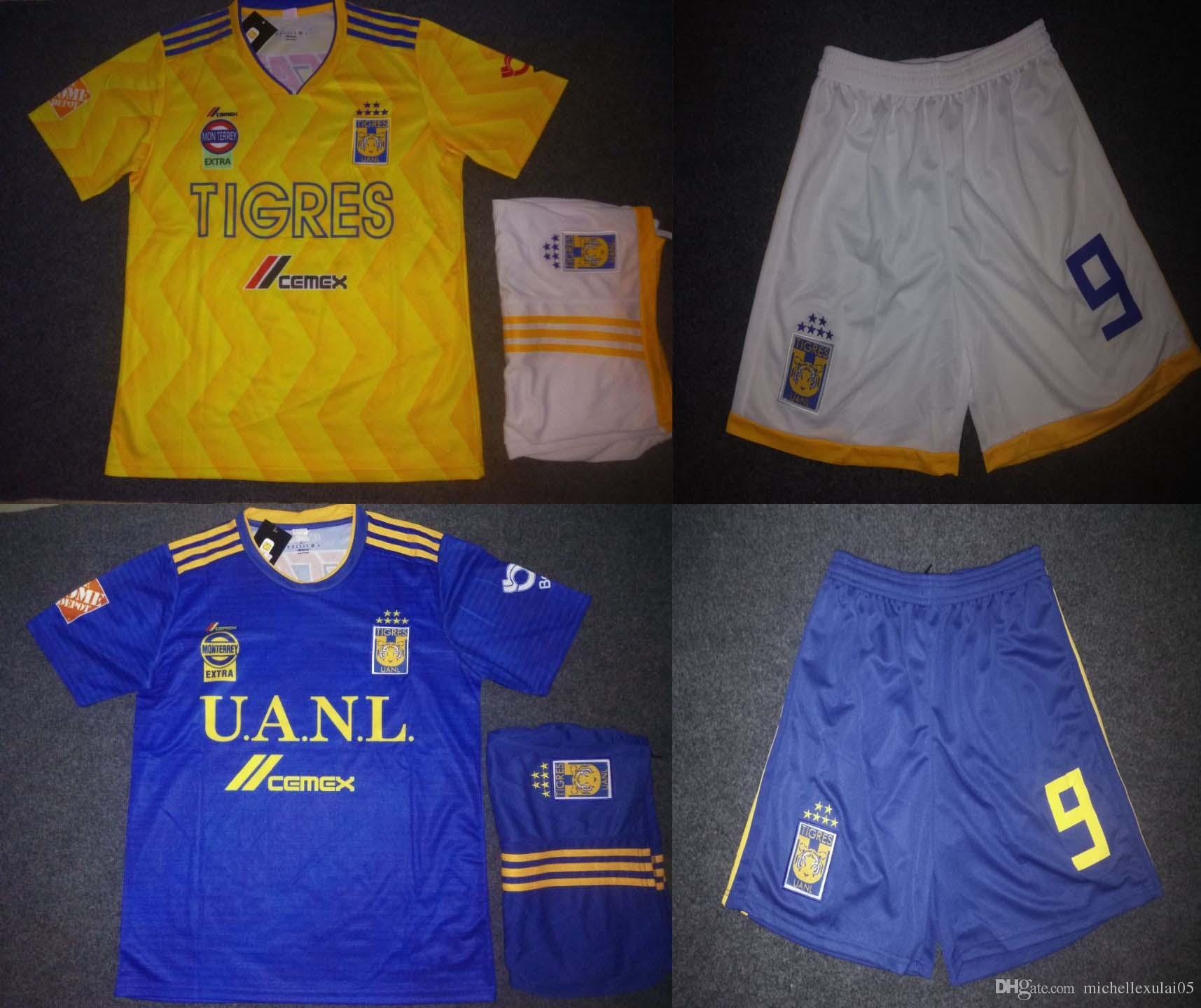 69e19e3ae 18 19 Tigres UANL Soccer Kits Men s Thai Quality Football Sets GIGNAC  VARGAS Soccer Jerseys Shorts Adult s Sports Training Suits Uniforms