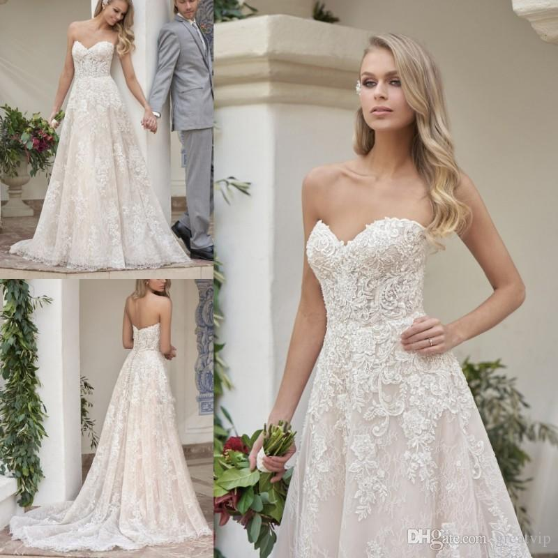 2019 New Wedding Dress Backless Schatz Perlen Illusion Spitze Applique Boho Kleider Mit Kappe Brautkleid Brautkleider