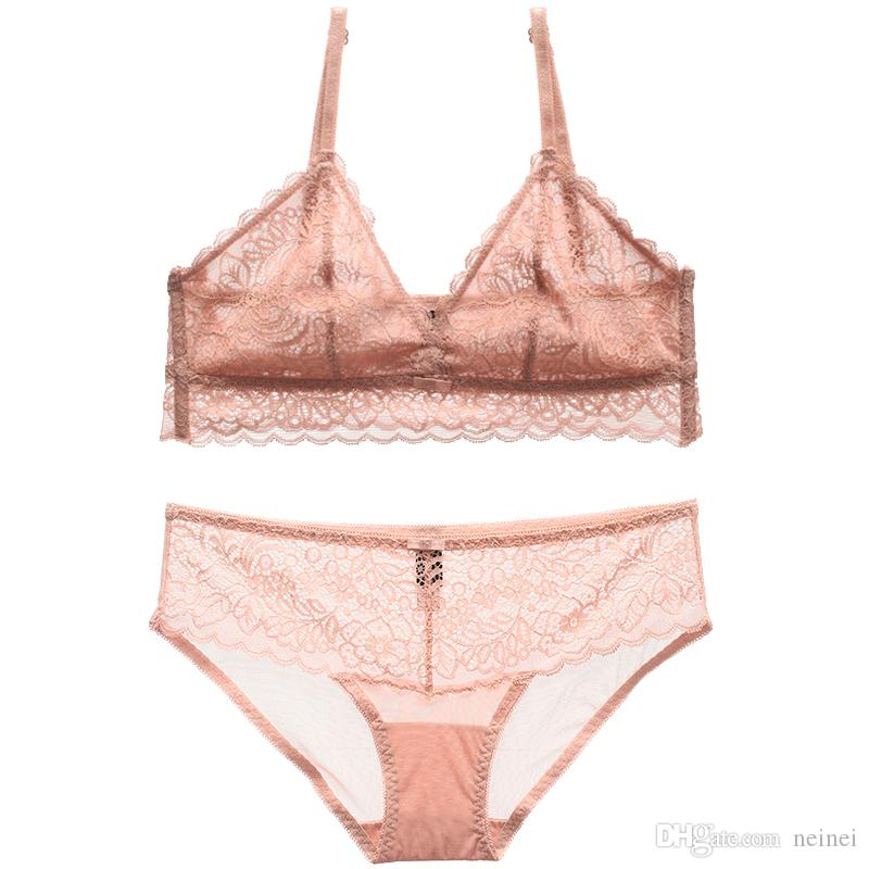 bc0e71780 2019 Summer Ultrathin Cup Sexy Ladies Sexy Lingerie Sets French Full Lace  Transparent Women Underwear Set Girls Sleep Clothes From Neinei