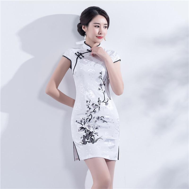 067300165 2019 Satin White Qipao Casual Mandarin Collar Vestidos Slim Sexy Floral Plus  Size Cheongsam Hot Sale Lady Chinese Vantage Dress M 4XL From Linglon, ...