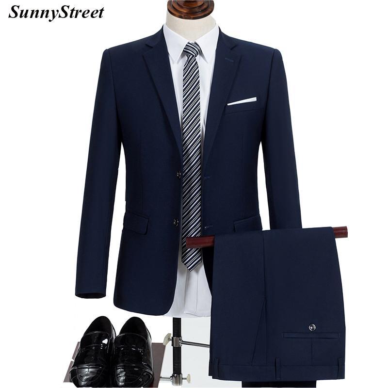 pretty nice e2583 d1922 Herren Business Anzug Büro Angestellter Wear Jacket und Hose Zweiteiler  Schwarz Blau Blazer