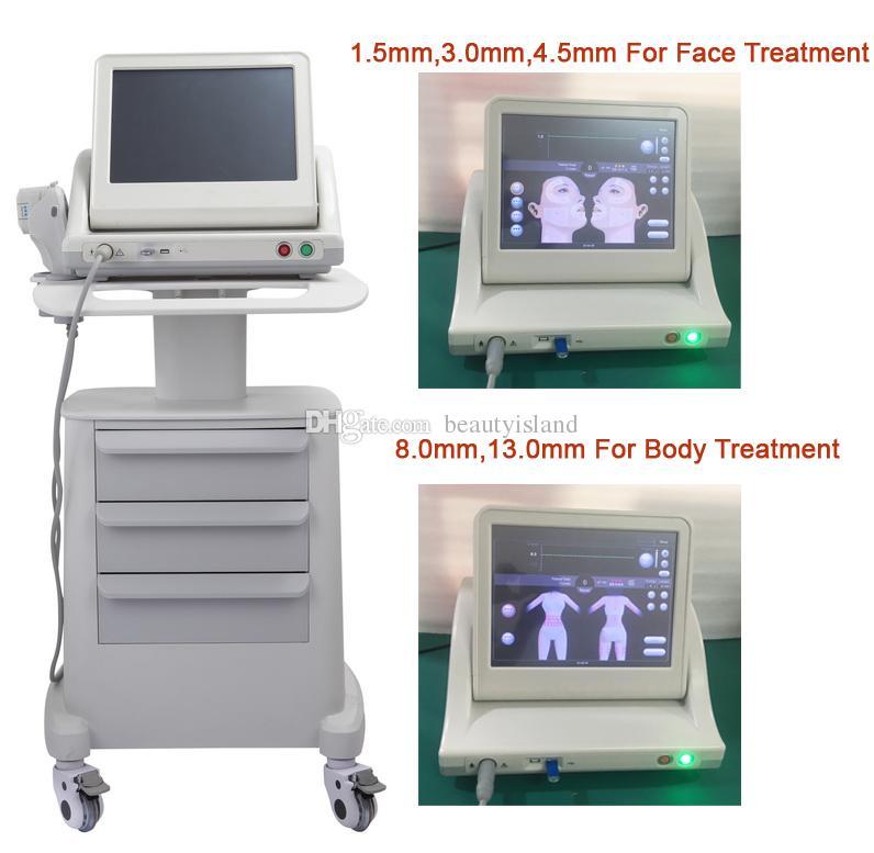 Grau médica Real Hifu Hifu Alta intensidade Focado Ultrassom Hifu Face Lift Machine Anti envelhecimento com 3 cartuchos ou 5 cartuchos para corpo de rosto