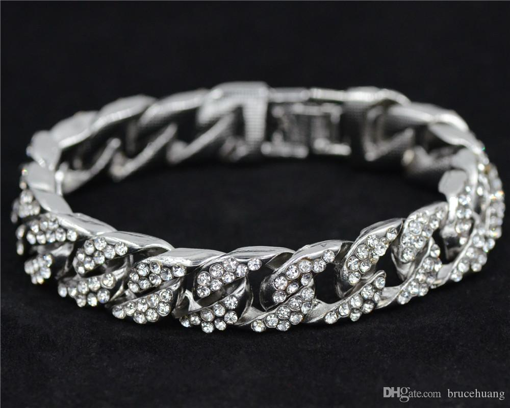 Gold color Men Hiphop iced out bling bracelets fashion rhinestone Miami cuban link chain hip hop bracelet men jewelry