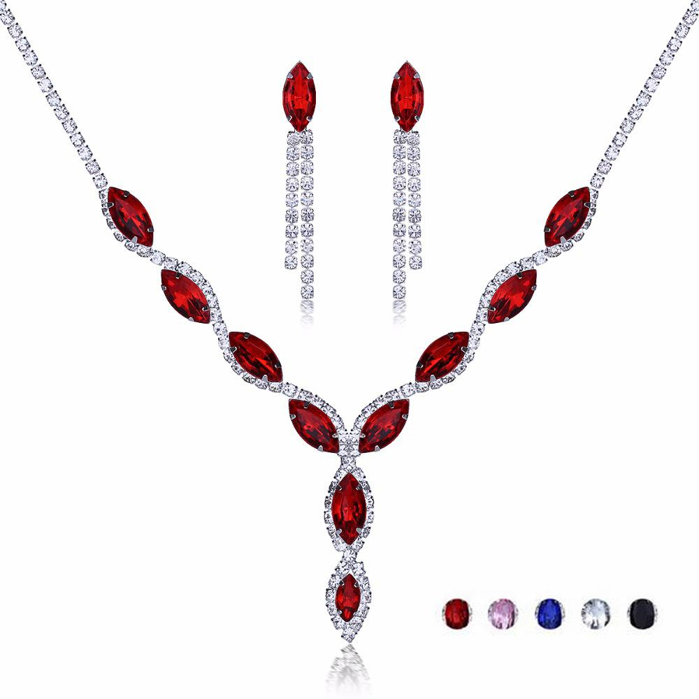 Luxury Water Drop Rhinestone Earring Necklace Wedding Jewelry Set Blue Red Crystal Tassel Earrings Strass Necklaces Bridal Gifts