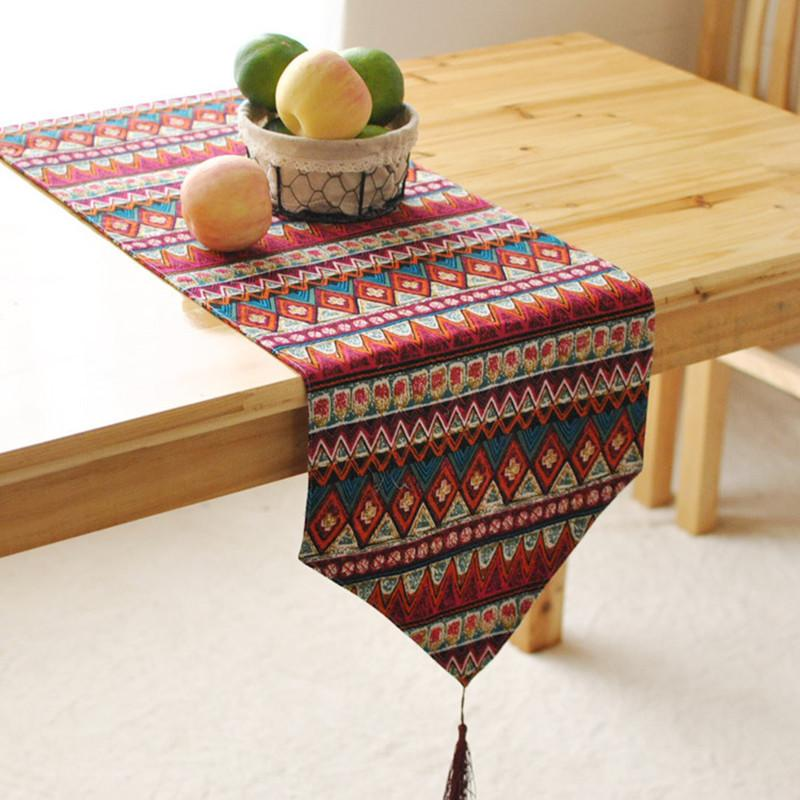 New Table Runners For Christmas Linen Tables Runner Cotton Rectangle  Printing Colorful Striped Wedding Decoration Home Decor Table Linens Table  Linens Cheap ...