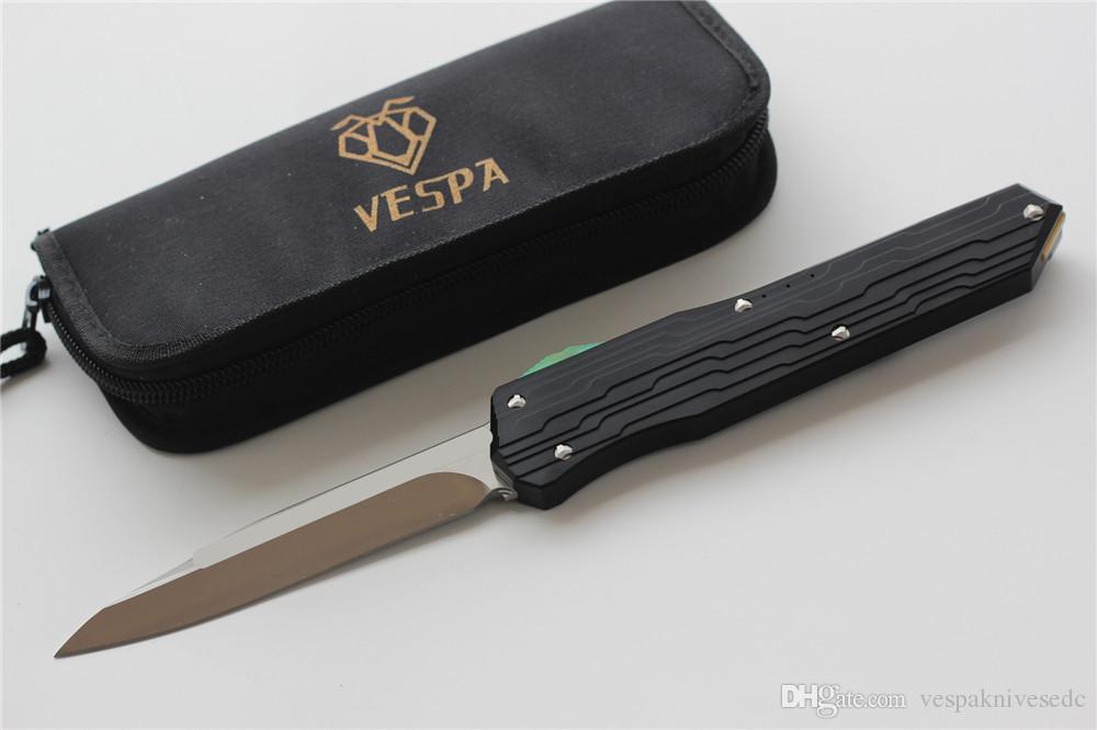 VESPA Version Couteau pliant Lame: M390 Noir S / E Manche: 7075Aluminum + TC4, Couteaux de survie camping en plein air, Outil EDC, Livraison gratuite