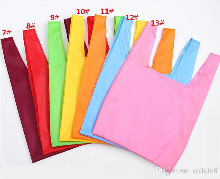 Foldable Shopping Bags Nylon Reusable Grocery Storage Bag Eco Friendly Shopping Bags Tote Bags W35*H55cm HH7-1165